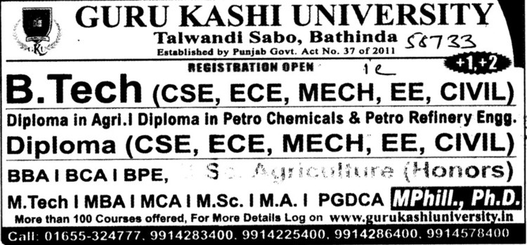BTech,MTech and MBA etc (Guru Kashi University)