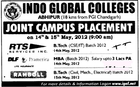 Joint Campus Placement Drive (Indo Global College of Engineering)