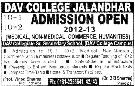 Medical,Non Medical,Commerce and Humanities (DAV College)