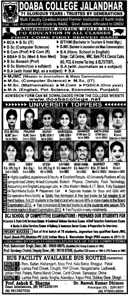 BCA,MA,MSc and MJMC etc (Doaba College)