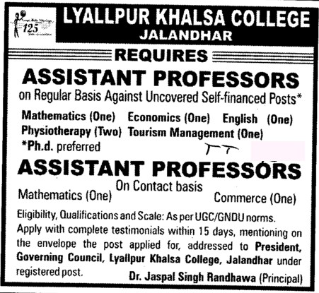 Asstt Professor on regular basis (Lyallpur Khalsa College of Boys)