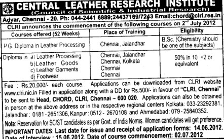 PG Diploma in Leather Processing etc (Central Leather Research Institute)