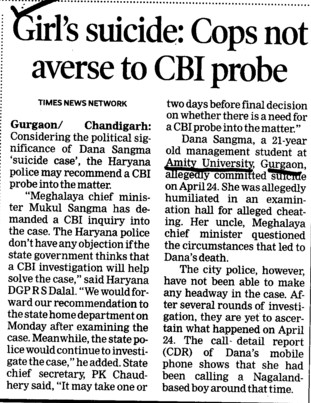 Girls suicide Cops not averse to CBI probe (Amity University Manesar)