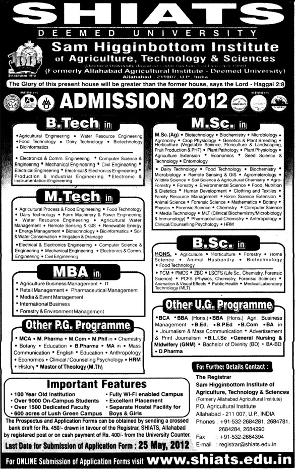 BTech,MTech and MBA etc (Sam Higginbottom Institute of Agriculture Technology & Science SHIATS)