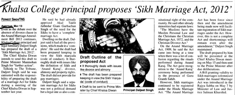 Khalsa College Principal proposes Sikh Marriage Act 2012 (Khalsa College)