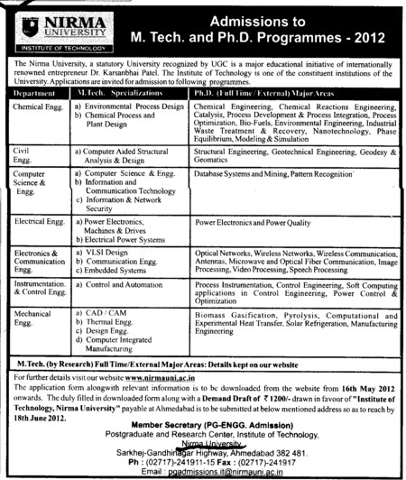 MTech and PhD Courses (Nirma University)