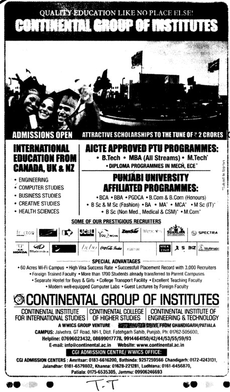 BBA,BCA,MA,MCA and PGDCA etc (Continental Group Institute Jalvehra)