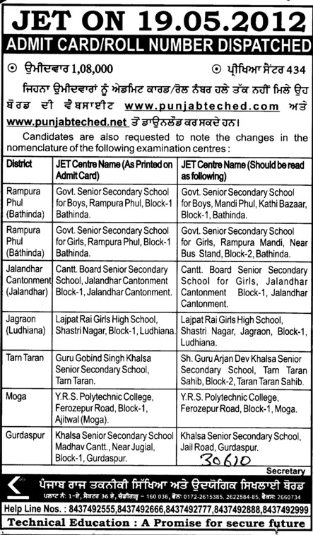 Admit Card and Roll Number of JET (Punjab State Board of Technical Education (PSBTE) and Industrial Training)