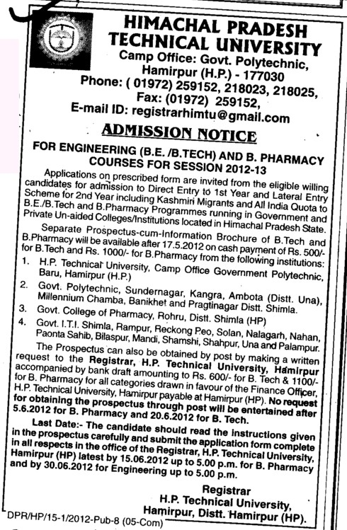 BE,BTech and B Pharmacy Courses (Himachal Pradesh Technical University HPTU)