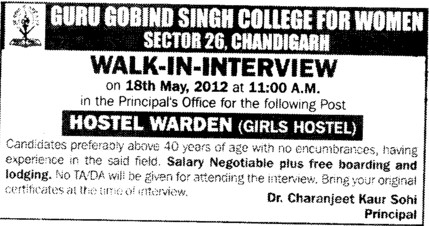 Hostel Warden (Guru Gobind Singh College for Women Sector 26)