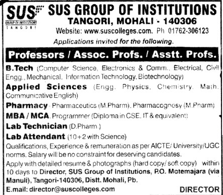 Professor,Asstt Professor and Associate Professor etc (SUS Group of Institutions)