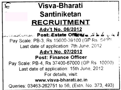 Estate Officer and Finance Officer (Visva Bharati University)