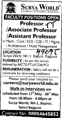 Professor,Asstt Professor and Associate Professor etc (Surya Group of Institutions)