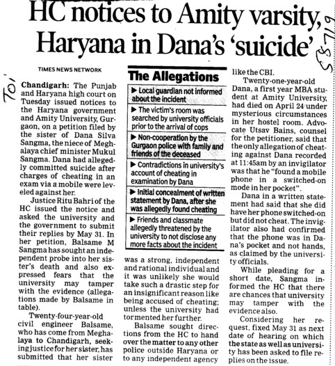 HC notices to Amity Varsity Haryana in Danas Suicide (Amity University Manesar)