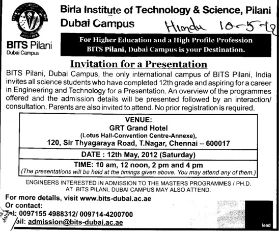 Invitation for a Presentation (Birla Institute of Technology and Science (BITS))