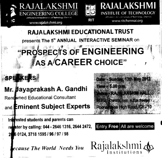 Message of Educational Consultant Mr Jayaprakash A, Gandhi (Rajalakshmi Engineering College)