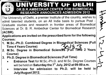 MSc and PhD Programmes (Delhi University)