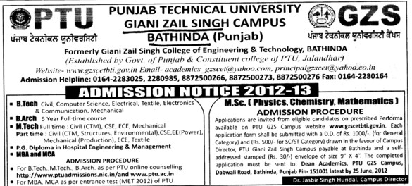 BTech,BArch and MTech Courses (Giani Zail Singh College Punjab Technical University (GZS PTU) Campus)
