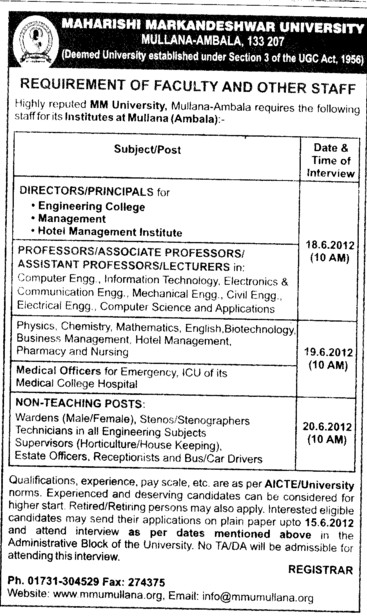 Directors and Principals on regular basis (Maharishi Markandeshwar University)