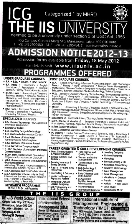 BA,BSc,BCom and MSc Courses etc (IIS University)