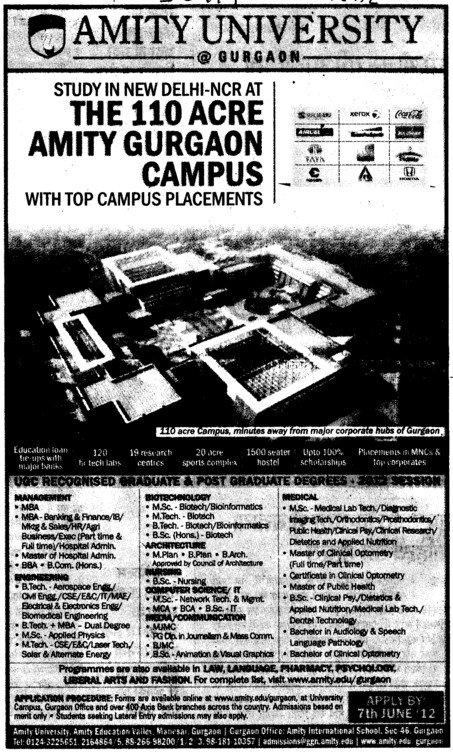 MBA,MSc and BTech Courses etc (Amity University Manesar)