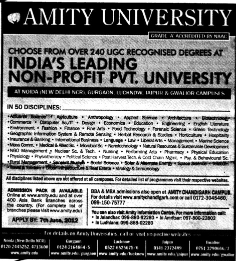 BBA and MBA Courses (Amity University Manesar)