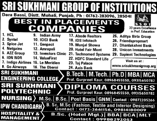 BTech,MTech and MBA etc (Sri Sukhmani Group of Institutes)