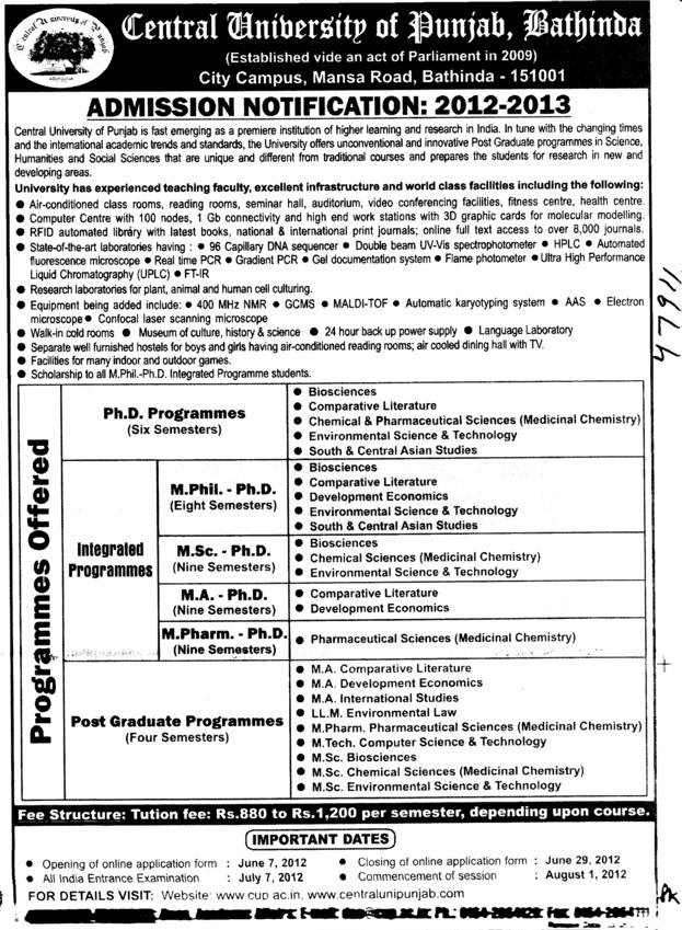PhD and M Phil Programmes etc (Central University of Punjab)