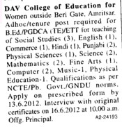 Faculty for Hindi,Punjabi,English and Physical Education etc (DAV College of Education for Women)