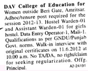 Hostel Warden and Assistant Warden (DAV College of Education for Women)