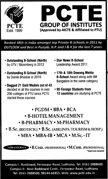 BBA,BCA,PGDM and MBA Courses etc (PCTE Group of Insitutes Baddowal)