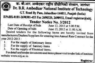 Supply of Stationary items and Electrical items etc (Dr BR Ambedkar National Institute of Technology (NIT))