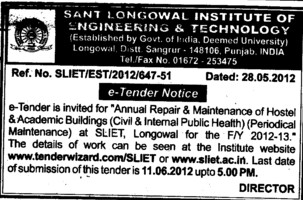 Annual Repair and Maintenance of Hostel etc (Sant Longowal Institute of Engineering and Technology SLIET)