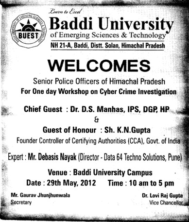 Workshop on Cyber Crime Investigation (Baddi University of Emerging Sciences and Technologies)