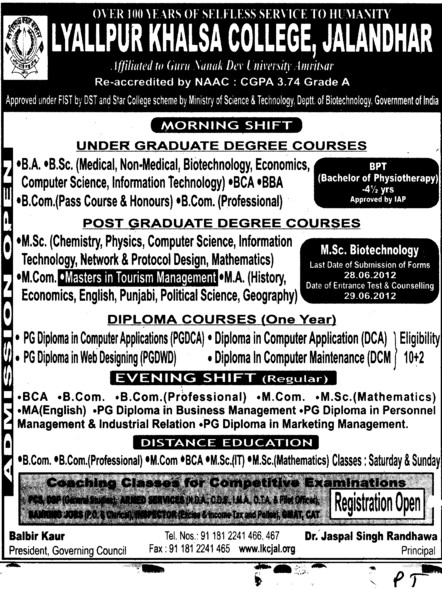 BA,BSc,MSc and MCom courses etc (Lyallpur Khalsa College of Boys)