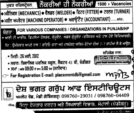 Welder,Accountant and Trainer etc (Desh Bhagat Group of Institutes)