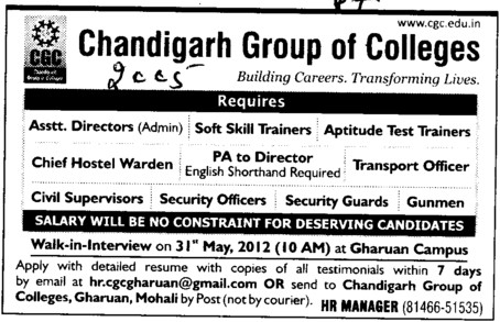 Asstt Director,Sift Skill Trainers etc (Chandigarh Group of Colleges)