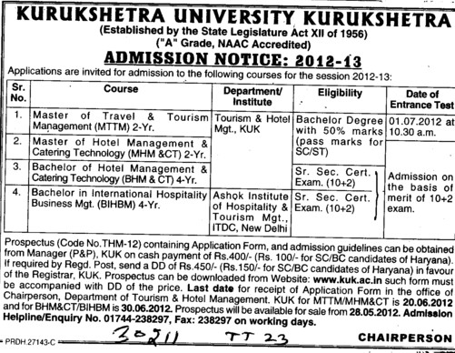 MMTM and BHM Courses etc (Kurukshetra University)