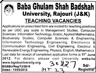 Teachers in various Departments (Baba Ghulam Shah Badshah University)