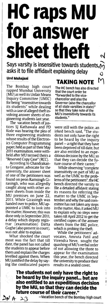 HC raps MU for answer sheet theft (University of Mumbai (UoM))