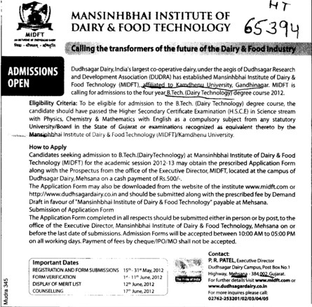 BTech Courses 2012 (Mansinhbhai Institute of Dairy and Food Technology)