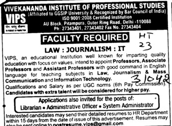 Faculty for Law (Vivekananda Institute of Professional Studies (VIPS))