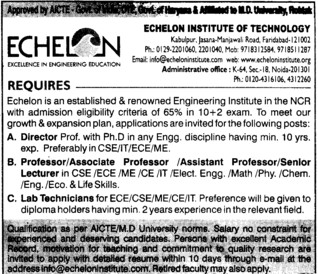 Professor,Asstt Professor and Associate Professor etc (Echelon Institute of Technology)