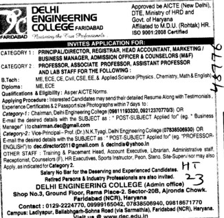 Professor,Asstt Professor and Associate Professor (Delhi Engineering College Ladiyapur)