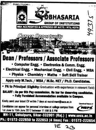 Dean,Professor,Asstt Professor and Associate Professor etc (Sobhasaria Group of Institution)