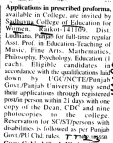 Asstt Professor on regular basis (Sadbhavna College of Education for Women)
