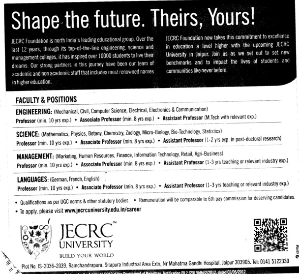 Professor,Asstt Professor and Associate Professor etc (JECRC University)