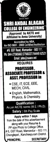 Professor,Asstt Professor and Associate Professor (Shri Andal Alagar College of Engineering (SAACE))