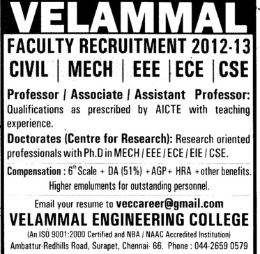 Professor,Asstt Professor and Associate Professor (Velammal Engineering College)