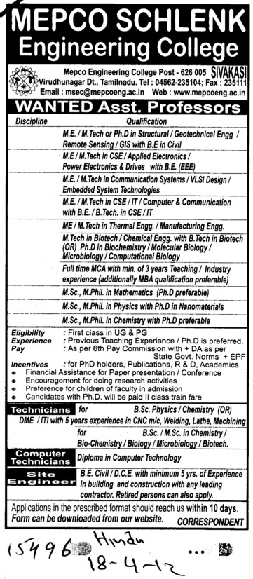 Asstt Professor in various departments (Mepco Schlenk Engineering College (MSEC))